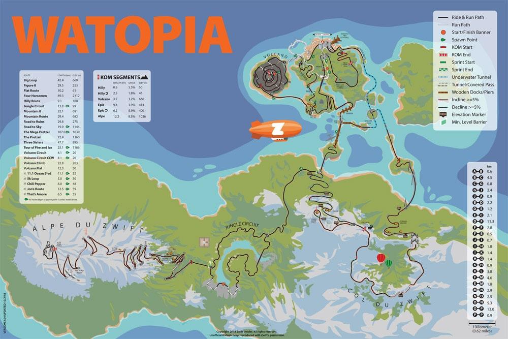 Watopia Course Map Zwift Insider