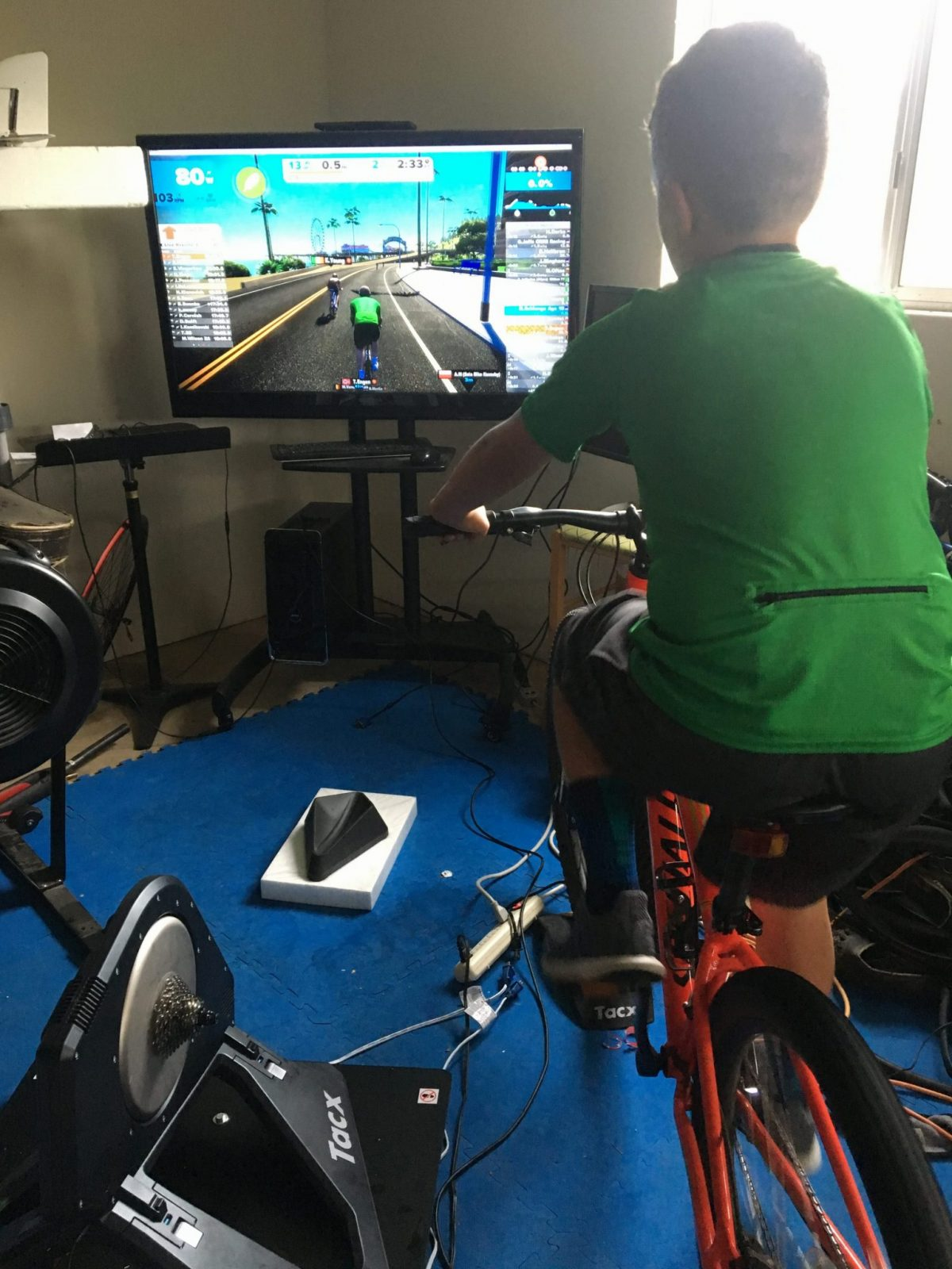 Noah on his first real Zwift session--one lap of Watopia flat.