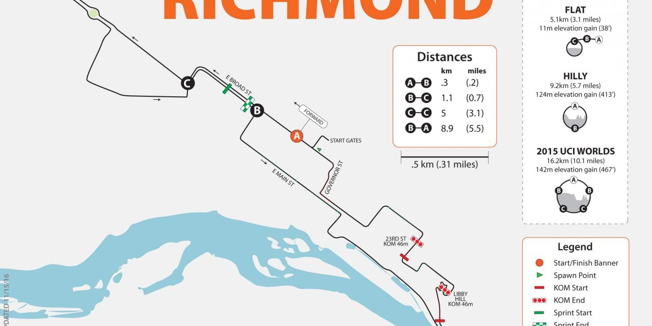 Zwift Richmond, VA course map