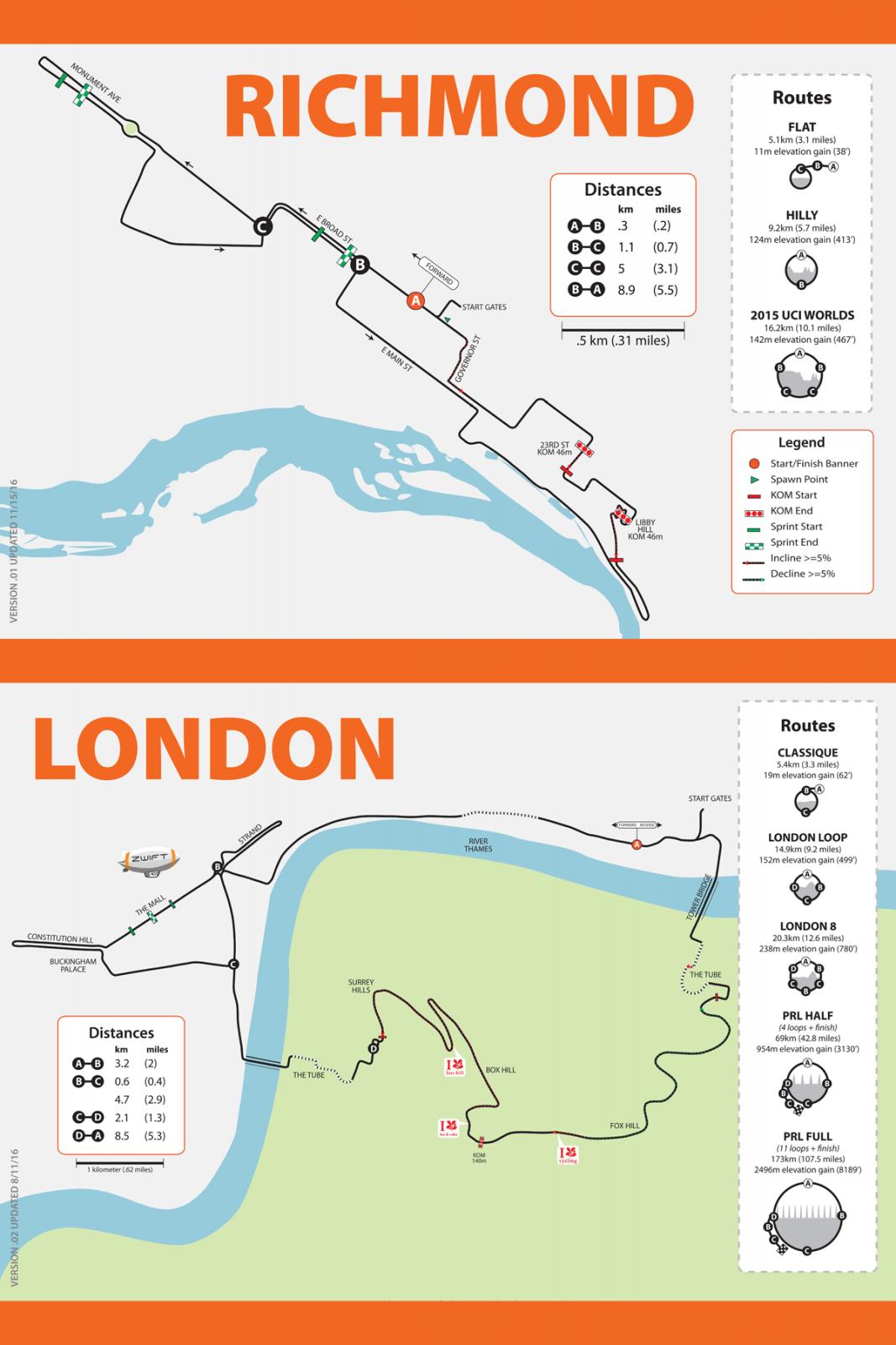 Richmond London Map.Watopia Richmond And London Map Posters In Stock Zwift Insider