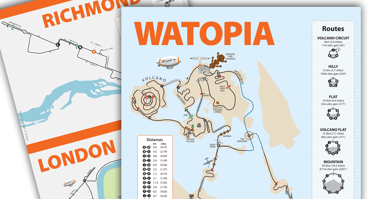 Watopia, Richmond, and London map posters in stock | Zwift