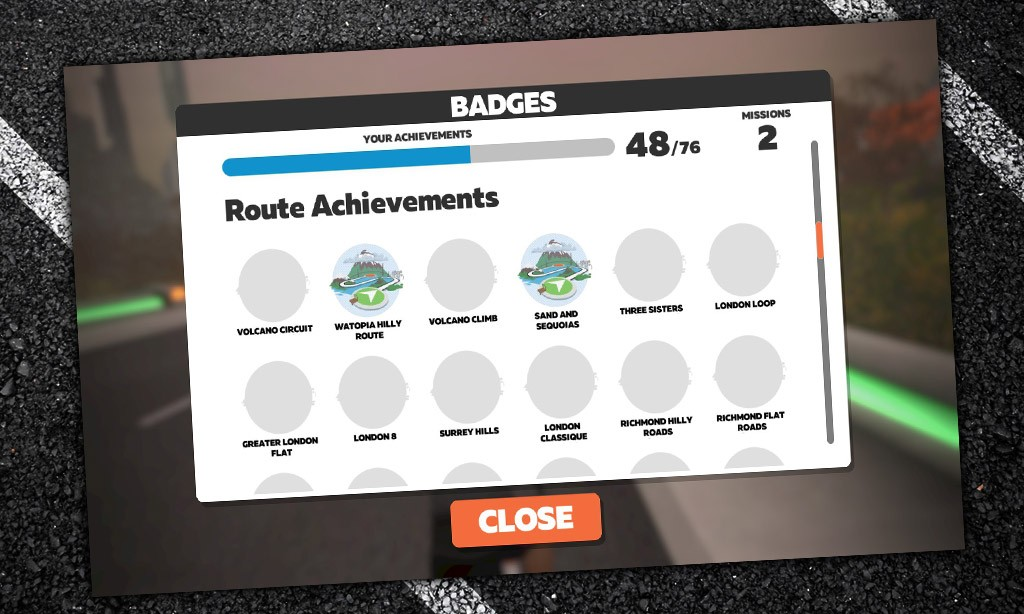 Route Achievement Badges and XP in Zwift