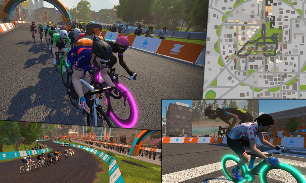 Route Maps & Details for Zwift's Crit City Course
