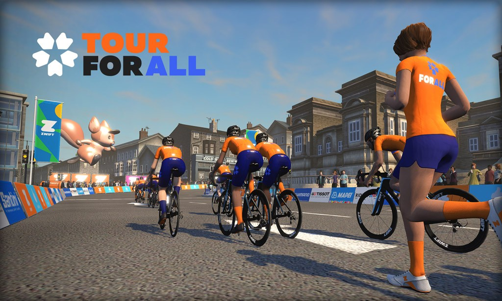 "Zwift ""Tour for All"" Fundraiser Event Series Details"