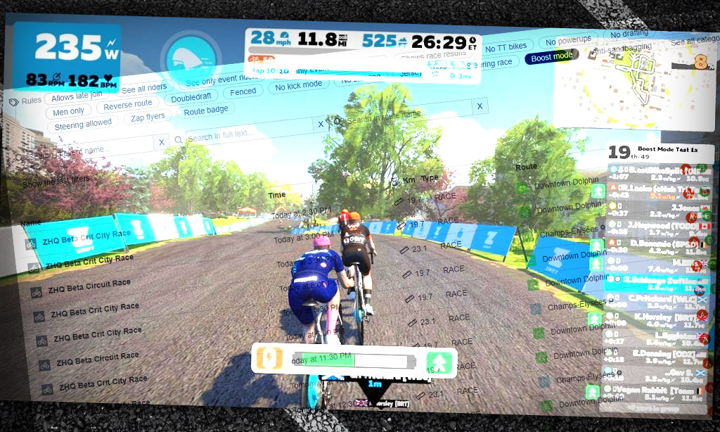 Want to try a Boost Mode Zwift race? Find your event on ZwiftHacks!